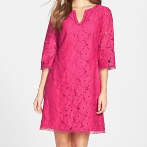 Adrianna Papell Raspberry Lace Bell Sleeve Dress